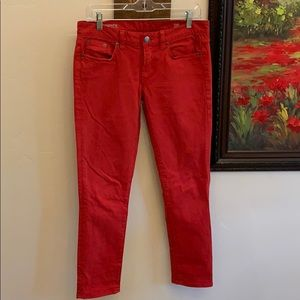 J. Crew size 28 red toothpick ankle jeans